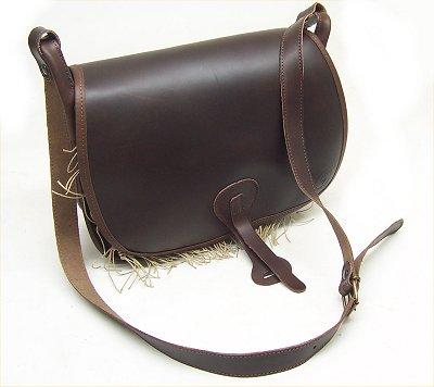 Carniere Delfiero in cuoio con rete borsa per caccia