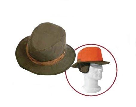 Cappello cotone reversibile verde e arancione riporti in pelle