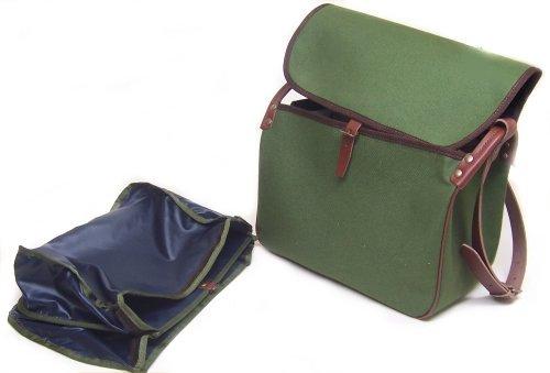 Carniere Delfiero tela verde grande borsa tracolla